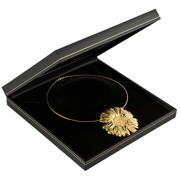 Bombay écrin pour collier, grand Similicuir noir, liseré doré/ Intérieur noir 191 x 194 x 35