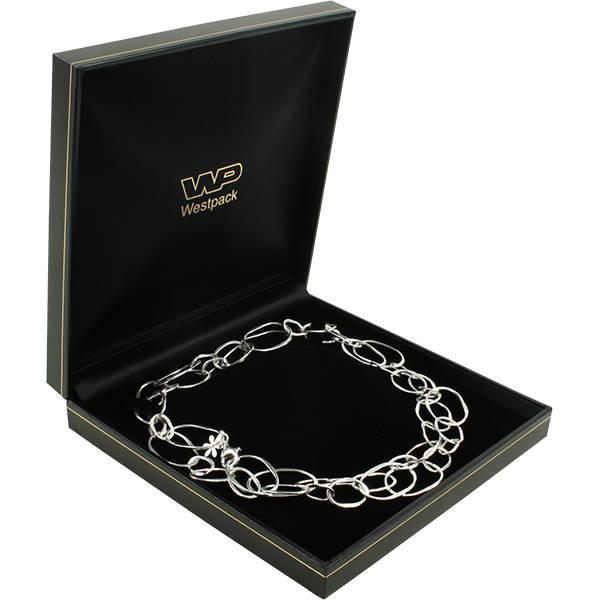Bombay sieradendoosje voor collier, met pocket Zwart kunstleer met gouden bies / Zwart velours 157 x 157 x 35