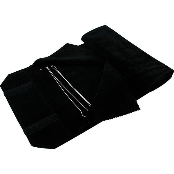 Trousse-rouleau 36 colliers, anneaux crochets Velours noir 655 x 290 x 700