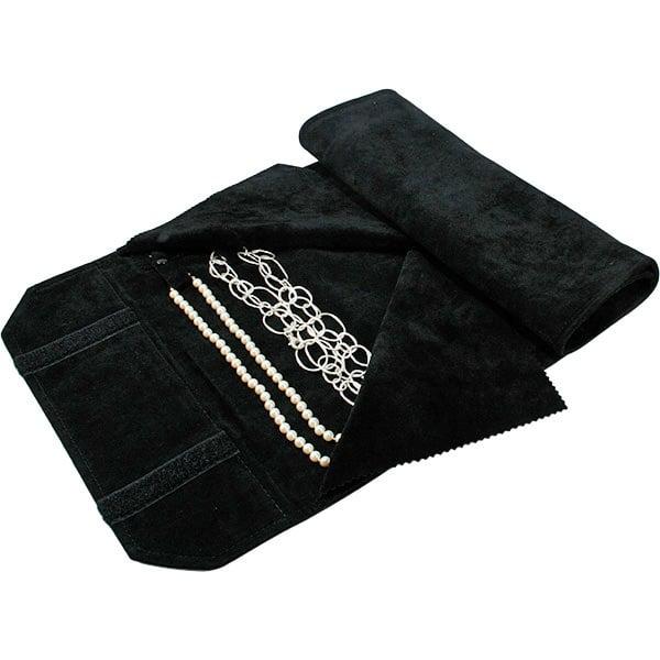 Trousse-rouleau 16 colliers, languettes pressions Velours noir 655 x 290 x 700