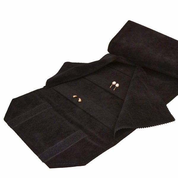 Presentatierol voor 72 paar oorbellen Zwart velours met klittenband 230 x 45