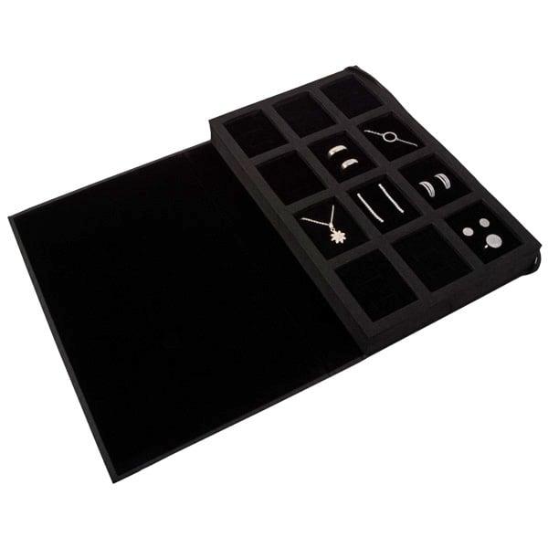 Compacte sample map voor ring, oorbellen & ketting Zwart kraftpapier met velours voering/zwart foam 180 x 286 x 34