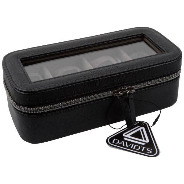 Kunstleren horlogebox voor 4 horloges Zwart PVC met rits/ donkergrijs velours interieur 327 x 210 x 86