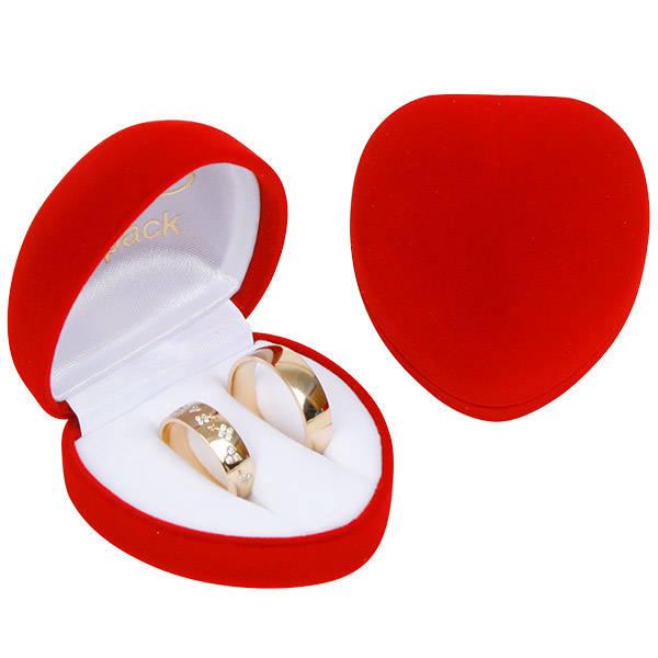 Baltimore sieradendoosje trouwringen, hartvormig Rood geflockt kunststof / Wit velours interieur 57 x 59 x 39