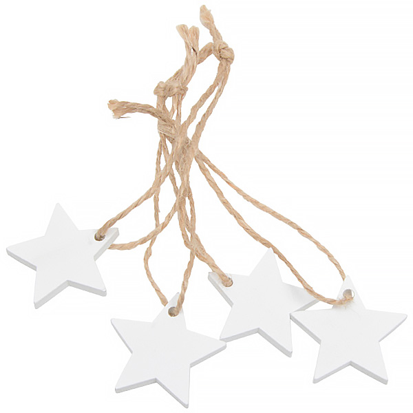Wooden stars on rustic string, 36 pcs. White wood / Jute string  35 mm