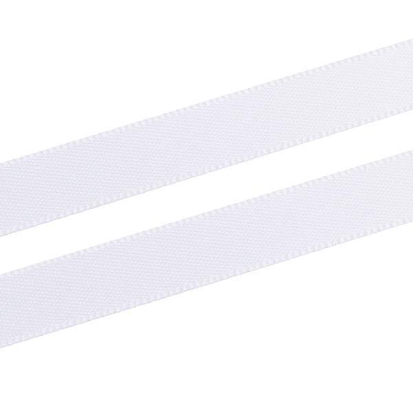Glad satijnlint, smal Wit  9 mm x 91,4 m