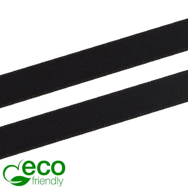 ECO satijnlint, smal Zwart  9 mm x 91,4 m
