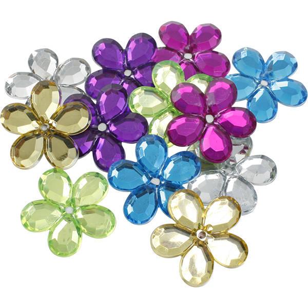 Grandes fleurs adhésives brillantes, 150 pcs Plastique brillant, assortiment des couleurs  x 25