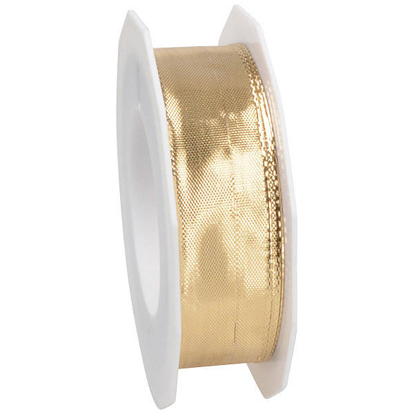 Ruban métallique brillant, large Ruban métallisé scintillant, avec fil de fer  25 mm x 20 m