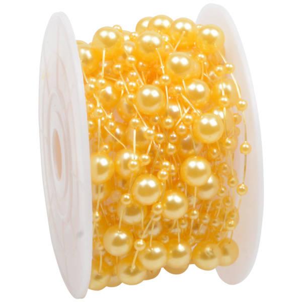 Ruban de fil avec perles en tailles différentes Or nacré  8 mm x 10 m