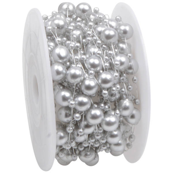 Lint met pareltjes in verschillende groottes Zilver met parelglans  8 mm x 10 m