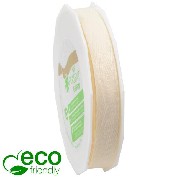 Geweven ECO visgraatlint Crème  15 mm x 25 m