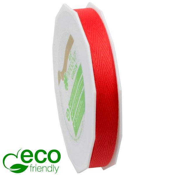 Geweven ECO visgraatlint Rood  15 mm x 25 m