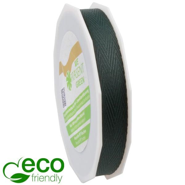 Geweven ECO visgraatlint Donkergroen  15 mm x 25 m