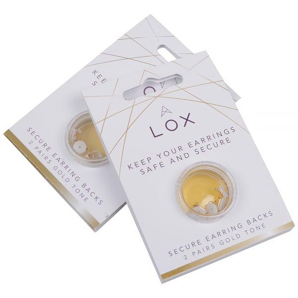 Veiligheidsslotjes voor oorstekers (LOX), 2 paar Goudkleurig (nikkelvrij)
