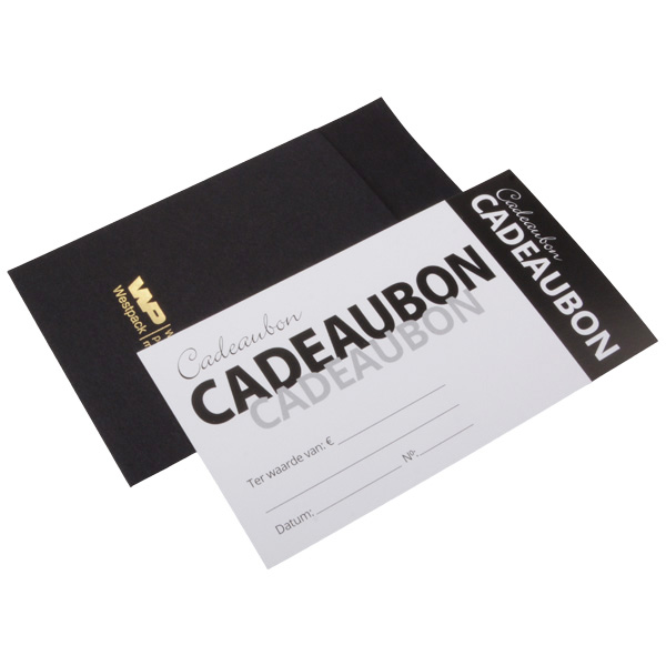 Gift Card with Envelope, 100 pcs. Black/White with Black Text NL 150 x 80 NL