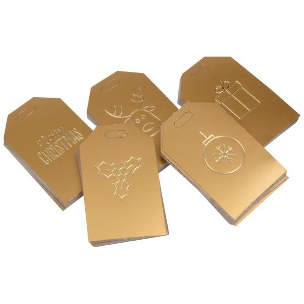 100 cadeaukaartjes kerst, langwerpig Goud met goud bedrukking 55 x 35