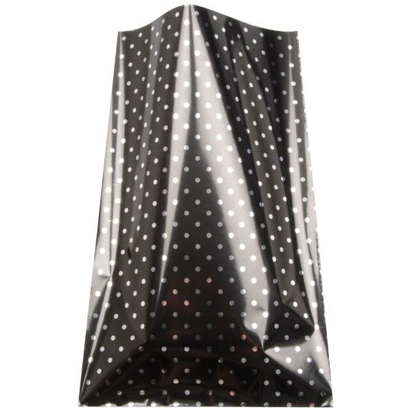 Foliezakje groot, 250 st. Mat zwart met zilveren stippen 150 x 245