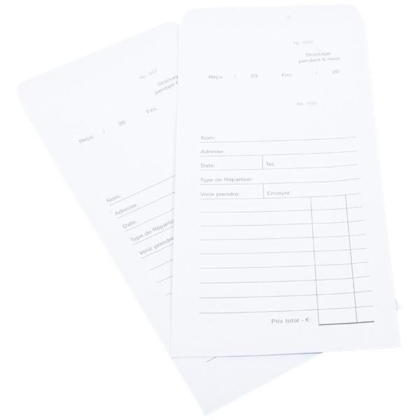 100 Pochettes réparation pré-imprimés, avec logo  Blanc avec numéros / Texte français 110 x 240