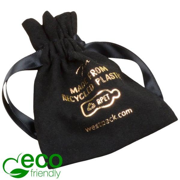ECO kunstsuèden sieradenzakje, Mini 100% Gerecycleerd plastic, Zwart 75 x 90