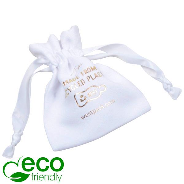 ECO kunstsuèden sieradenzakje, Mini 100% Gerecycleerd plastic, Wit 75 x 90