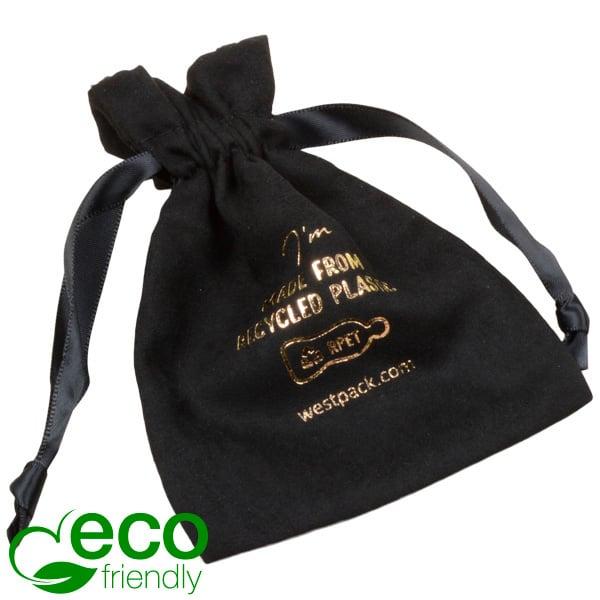 ECO kunstsuèden sieradenzakje, piccolo 100% Gerecycleerd plastic, Zwart 90 x 120