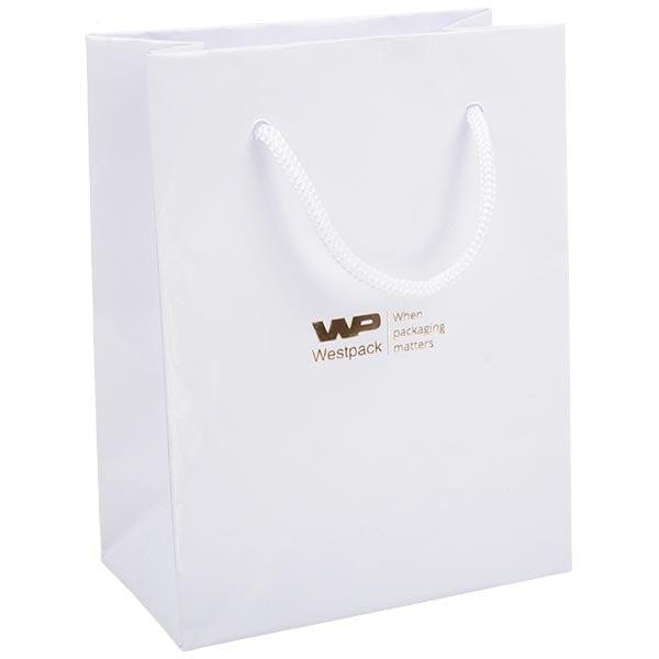 Glanzend gelakt papieren draagtasje, klein Wit gelamineerd papier met gevlochten hengsel 114 x 146 x 63 150 gsm