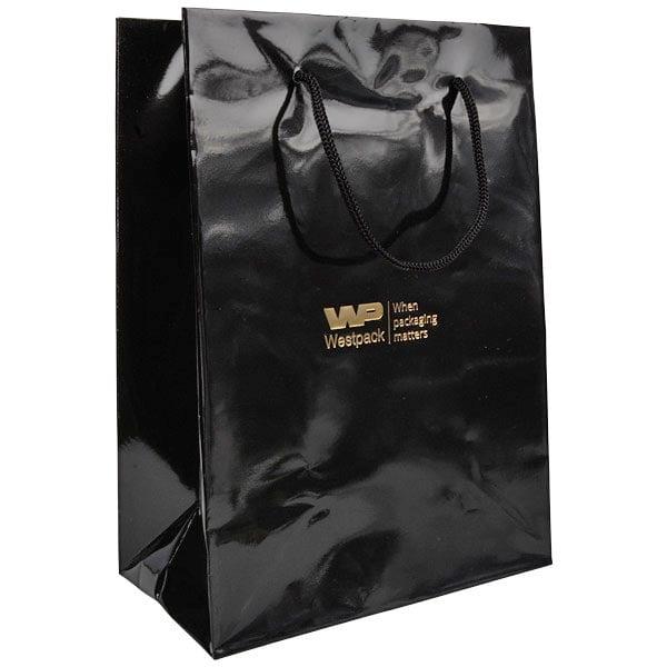 Sac papier laqué avec poignées cordon, grand Papier noir, 150 gsm 180 x 250 x 100 150 gsm