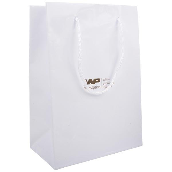 Sac papier laqué avec poignées cordon, grand Papier blanc 150 gsm 180 x 250 x 100 150 gsm