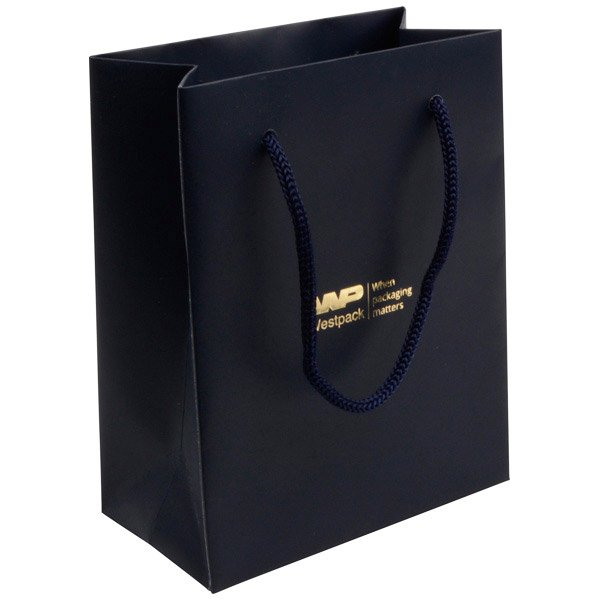 Mat gelakt papieren draagtasje, klein Donkerblauw gelamineerd papier, gevlochten hengsel 114 x 146 x 63 150 gsm