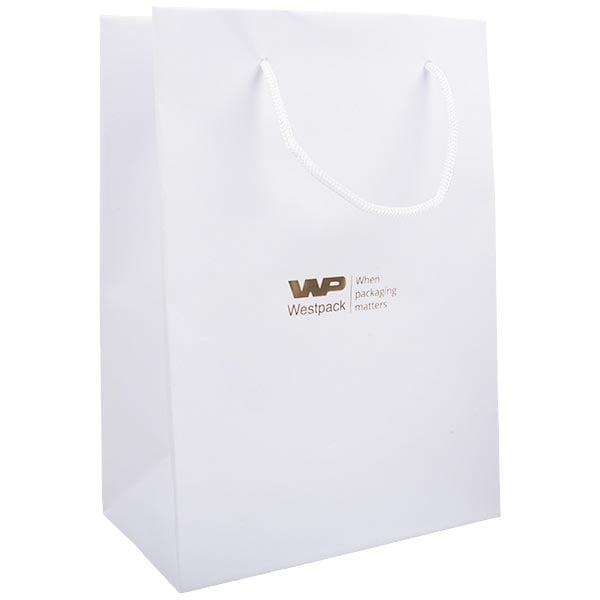 Mat gelakt papieren draagtasje, groot Wit gelamineerd papier met gevlochten hengsel 180 x 250 x 100 150 gsm