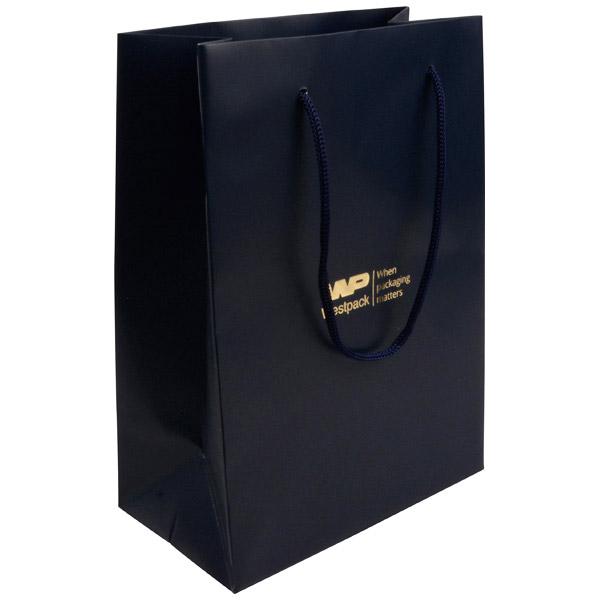 Mat gelakt papieren draagtasje, groot Donkerblauw gelamineerd papier, gevlochten hengsel 180 x 250 x 100 150 gsm