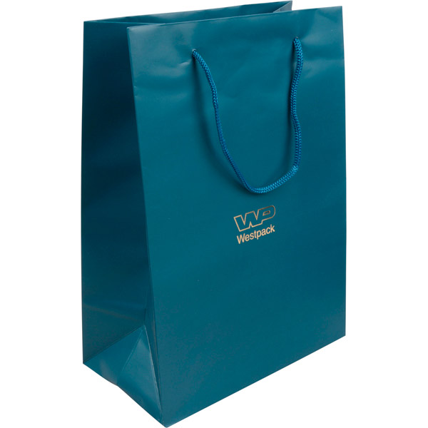 Sac papier mat avec poignées cordon, grand Papier bleu pétrole, 150 gsm 180 x 250 x 100 150 gsm