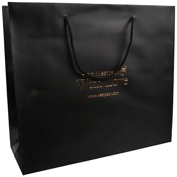 Sac papier mat avec poignées cordon, grand Papier noir, 190 gsm 250 x 280 x 115 190 gsm