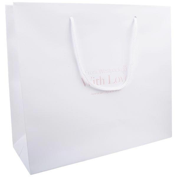 Mat gelakt papieren draagtasje, XL Wit gelamineerd papier met gevlochten hengsel 250 x 280 x 115 190 gsm