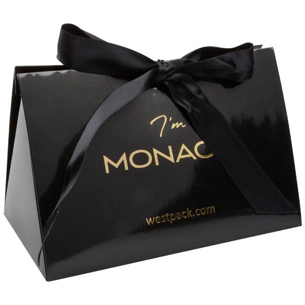 Monaco cadeaudoosje voor sieraden Glanzend zwart karton/ Zwart satijnlint 160 x 110 x 90