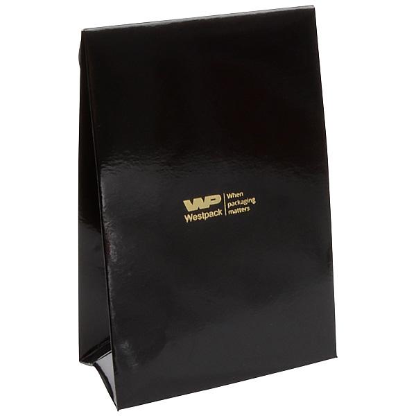 Glanzend cadeauzakje voor sieraden, klein Zwart papier 90 x 135 x 45 170 gsm