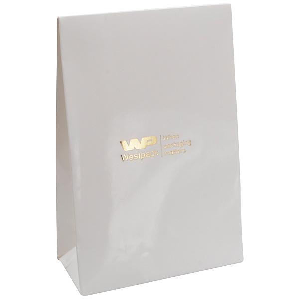 Glanzend cadeauzakje voor sieraden, klein Wit papier 90 x 135 x 45 170 gsm
