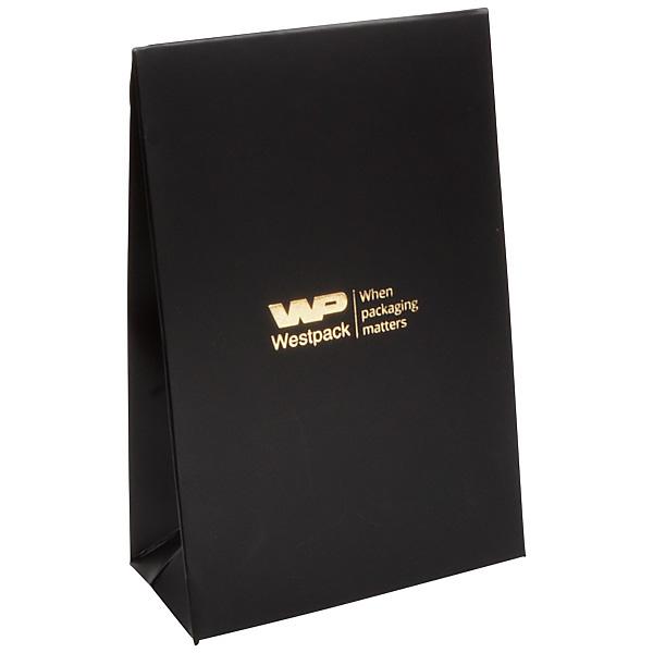 Matte cadeauzakje voor sieraden, klein Zwart papier 90 x 135 x 45 170 gsm