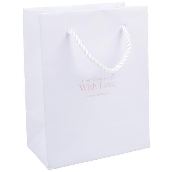Sac en papier kraft avec poignées cordon, petit Papier kraft de couleur blanc 114 x 146 x 63 150 gsm