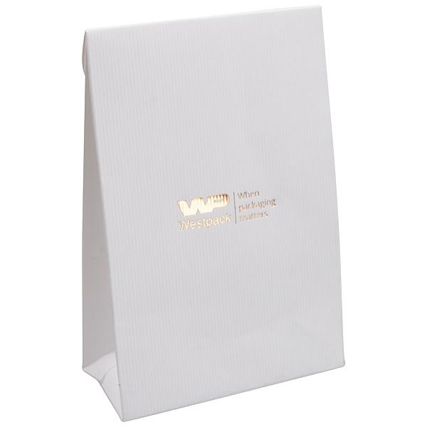 Sachet cadeau en papier mat, petit Papier ondulé blanc 90 x 135 x 45