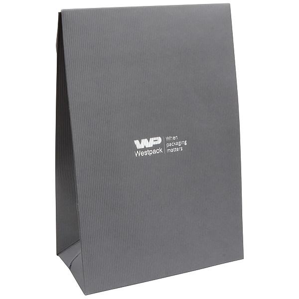 Matte cadeauzakje voor sieraden, groot grijs geribbeld papier 120 x 180 x 64