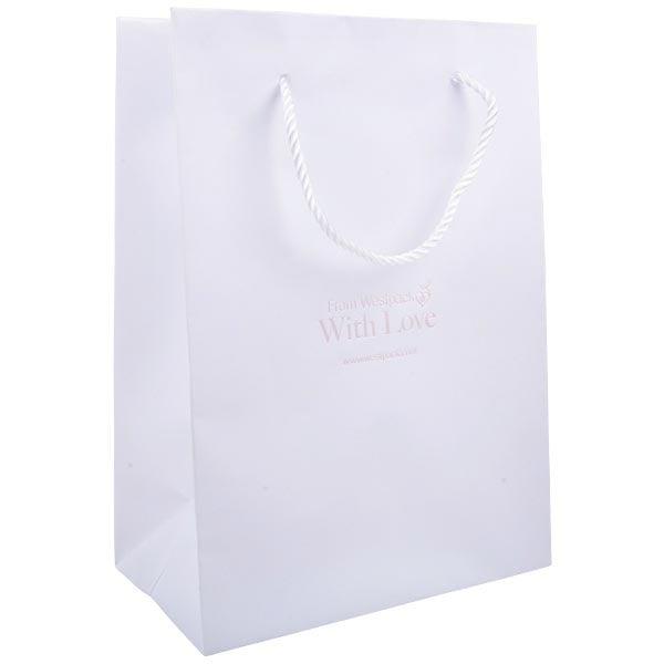 Papieren draagtasje zonder coating, groot Mat wit kraftpapier met gedraaid hengsel 250 x 180 x 100 150 gsm