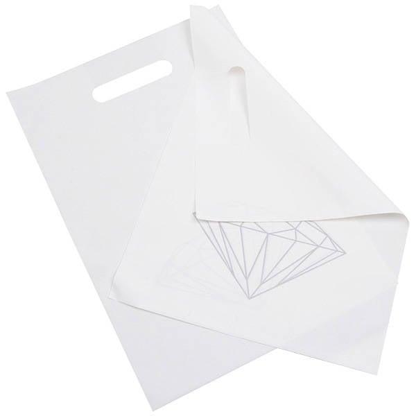 500 st. Plastic Draagtas, met diamant Mat witte tas met zilverkleurige diamant 250 x 350 50 my