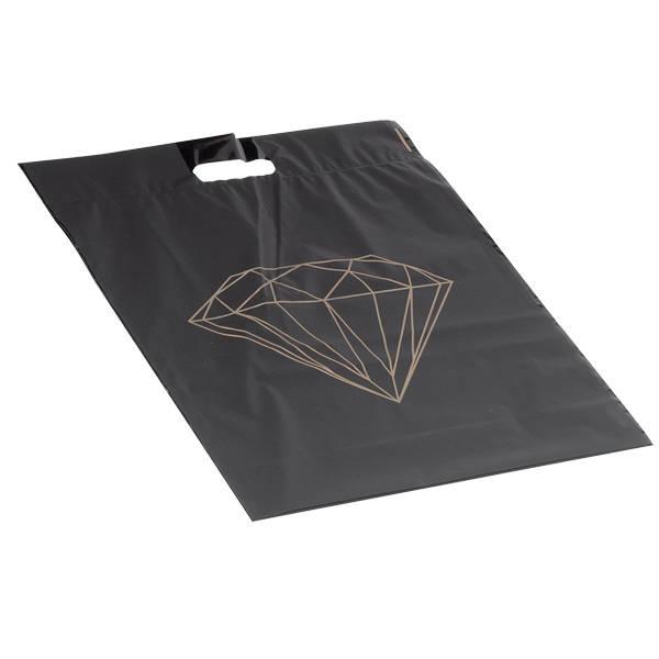 250 st. grote plastic Draagtas, met diamant Mat zwarte tas met goudkleurige diamant 390 x 450 50 my