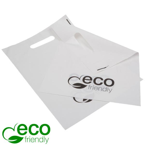 500 Biopastic draagtasjes, klein Mat wit bioplastic 250 x 350 35 MY
