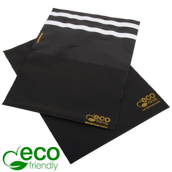ECO-Friendly Dubbele Verzendtas met Plakstrip Mat Zwart Gerecycleerd Plastic, Goudopdruk, 250 st 200 x 200 60 My