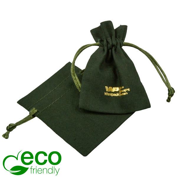 ECO Katoenen sieradenzakje, mini Donkergroen biologisch katoen met satijnen koord 70 x 90