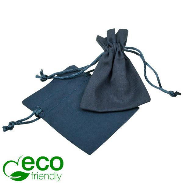 ECO Pochette en coton pour bijoux, mini Coton écologique bleu foncé avec cordon en satin 70 x 90