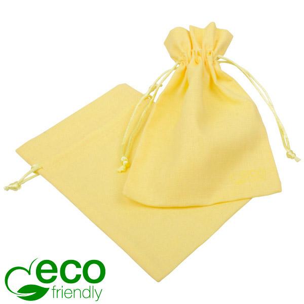 ECO Pochette en coton pour bijoux, moyenne Coton écologique jaune clair avec cordon en satin 120 x 170